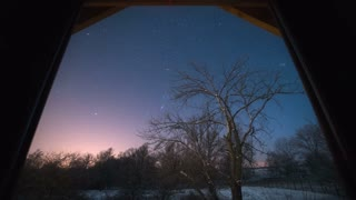 The tree against the background of the night sky with stars. Filmed from the window. Evening-night time. Time lapse, wide angle