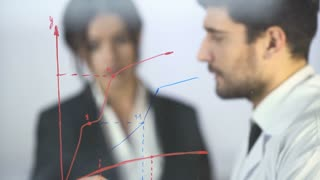 The two people draw the graph at the virtual screen. Real time capture