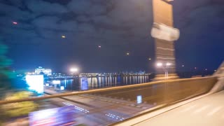 The walk along the pedestrian bridge. Time lapse (Hyperlapse). Wide angle