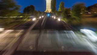 The walk in the night park. Time lapse (Hyperlapse). Wide angle