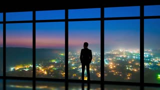 The man standing near panoramic windows on the foggy city background. time lapse