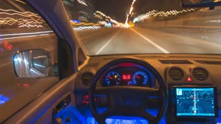The autopilot car drive hyperlapse pov motion, inside view, left side wheel