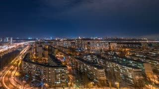 The beautiful city night landscape. time lapse