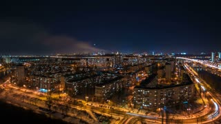 The beautiful view on the night city landscape. time lapse