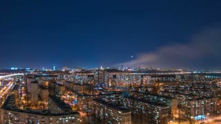 The beautiful view on the night city. time lapse