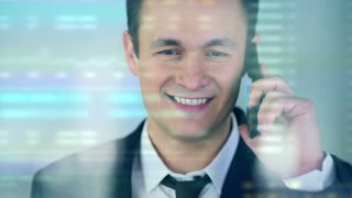 The businessman phone over the virtual screen