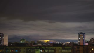 The cloud stream above the industrial city. time lapse
