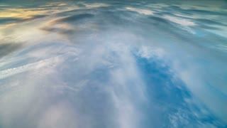 The cover of the cloud flow. wide angle, plane view
