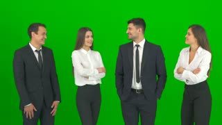 The four business people talk on the green background