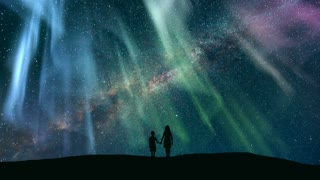 The kids standing against the starry sky with a northern light. time lapse