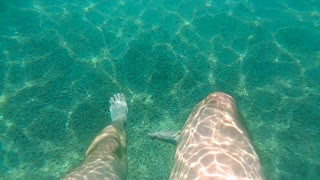 The legs swimming under the water