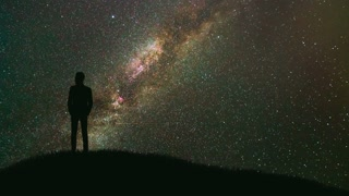 The man stand against the starry sky. time lapse, night time