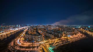 The night city landscape. time lapse