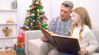 The old man and a girl read a book near the christmas tree