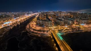 The picturesque night city landscape. time lapse