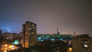 The rainy thunderstorm with strong lightnings above cityline at night. timelapse