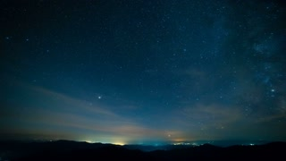 The starry sky above mountains. evening night time
