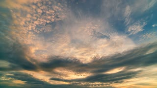 The stream of a cloud in the sky. time lapse, wide angle