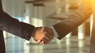 The two business people handshake on the sunny background. slow motion