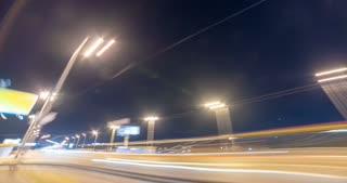 The walk along the night city bridge. time lapse