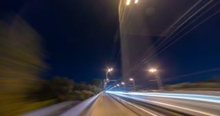 The walk on the evening city bridge. time lapse
