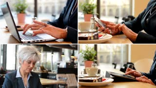 4K compilation (montage) - business woman works on notebook, tablet and mobile phone in cafe - closeup