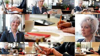 4K compilation (montage) - middle aged woman signs a contract (signature) in cafe - coffee with cake - woman smiles to camera - woman works on devices (laptop, tablet and smartphone)