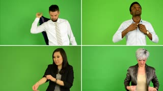 4K compilation (montage) - people adjust clothes and smile to camera (caucasian woman and man, asian woman, black man) - green screen studio
