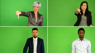 4K compilation (montage) - people disagree (caucasian woman and man, asian woman, black man) - people show thumb on rejection - green screen studio