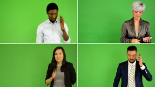 4K compilation (montage) - people phone with smartphone (caucasian woman and man, asian woman, black man) - green screen studio