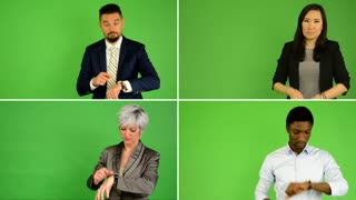 4K compilation (montage) - people point to watch-time (caucasian woman and man, asian woman, black man) - green screen studio