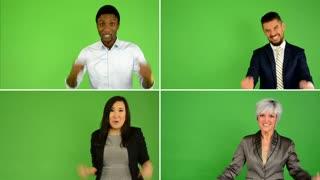 4K compilation (montage) - people rejoice (caucasian woman and man, asian woman, black man) - green screen studio