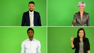 4K compilation (montage) - people show thumbs on agreement (caucasian woman and man, asian woman, black man) - green screen studio