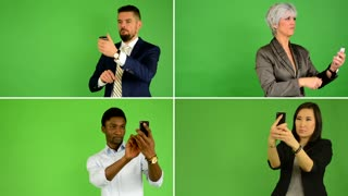 4K compilation (montage) - people take pictures with smartphone (caucasian woman and man, asian woman, black man) - green screen studio