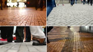 4K compilation (montage) - people walking - commuter people - closeup legs - streets in the city - day and night
