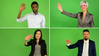 4K compilation (montage) - people wave with hand (caucasian woman and man, asian woman, black man) - green screen studio