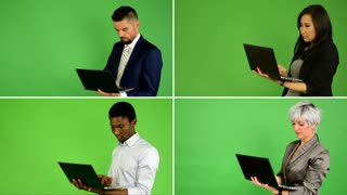 4K compilation (montage) - people work on laptop (caucasian woman and man, asian woman, black man) - green screen studio