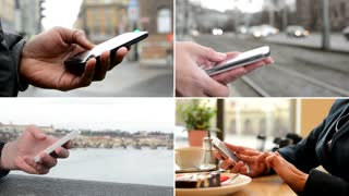 4K compilation (montage) - people work on mobile phone (closeup hands) - street, cafe and bridge