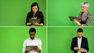 4K compilation (montage) - people work on tablet (caucasian woman and man, asian woman, black man) - green screen studio