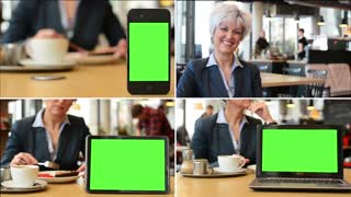 4K MONTAGE (4 VIDEOS) - technology devices green screen - 3 platforms - business woman in cafe