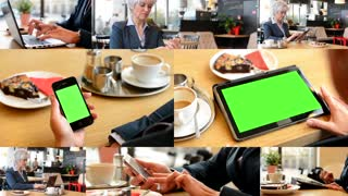 4K MONTAGE (8 VIDEOS) - technology devices green screen - business woman working in cafe - smartphone and tablet green screen