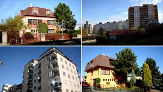 4K montage (compilation) - exterior house in the city and high-rise block of flats - housing estate (development) with nature - sky - urban street