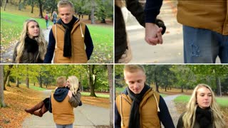 4K MONTAGE (compilation) - young model couple in love - autumn park(nature) - couple walking in park - couple kiss (passionate kiss) - happy couple holding hands - man carries a woman in his arms