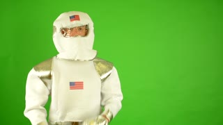 astronaut introduces - green screen