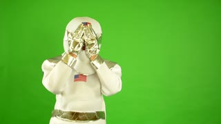 astronaut is suprised - green screen