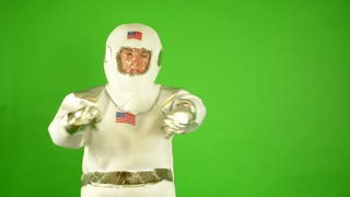 astronaut point at time - green screen