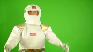 astronaut welcomes - green screen