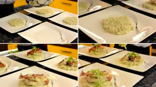 chef prepares foods for serving - plates