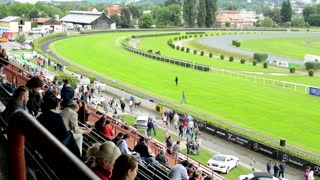 horse races - audience - people wait for horse race