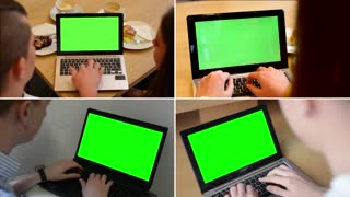 MONTAGE (4 VIDEOS) - notebook green screen - people working on notebook (computer)